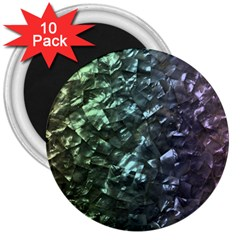 Natural Shimmering Mother of Pearl Nacre  3  Magnets (10 pack)