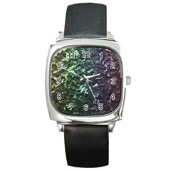 Natural Shimmering Mother of Pearl Nacre  Square Metal Watch