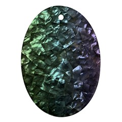 Natural Shimmering Mother of Pearl Nacre  Oval Ornament (Two Sides)