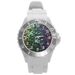 Natural Shimmering Mother of Pearl Nacre  Round Plastic Sport Watch (L)