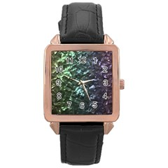 Natural Shimmering Mother of Pearl Nacre  Rose Gold Leather Watch