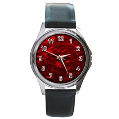 Hawaiian Red Hot Lava Mother of Pearl Nacre  Round Metal Watch