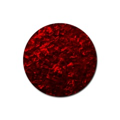 Hawaiian Red Hot Lava Mother of Pearl Nacre  Rubber Coaster (Round)