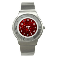 Hawaiian Red Hot Lava Mother of Pearl Nacre  Stainless Steel Watch