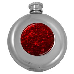 Hawaiian Red Hot Lava Mother of Pearl Nacre  Round Hip Flask (5 oz)