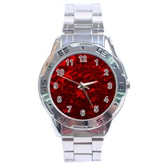 Hawaiian Red Hot Lava Mother of Pearl Nacre  Stainless Steel Analogue Watch