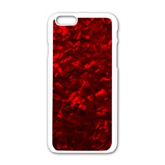 Hawaiian Red Hot Lava Mother of Pearl Nacre  Apple iPhone 6/6S White Enamel Case