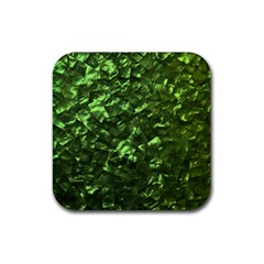 Bright Jade Green Jewelry Mother of Pearl Rubber Coaster (Square)