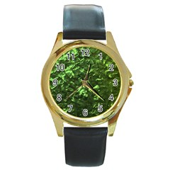 Bright Jade Green Jewelry Mother of Pearl Round Gold Metal Watch