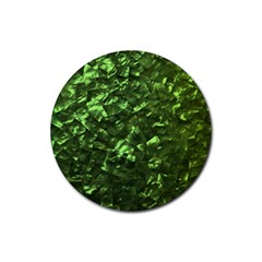 Bright Jade Green Jewelry Mother of Pearl Rubber Round Coaster (4 pack)