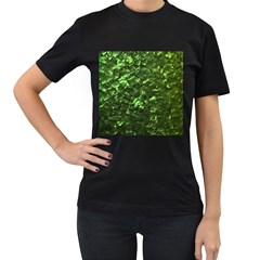Bright Jade Green Jewelry Mother of Pearl Women s T-Shirt (Black) (Two Sided)