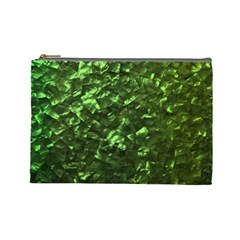 Bright Jade Green Jewelry Mother of Pearl Cosmetic Bag (Large)