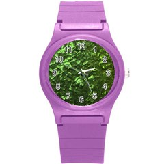 Bright Jade Green Jewelry Mother of Pearl Round Plastic Sport Watch (S)