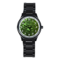 Bright Jade Green Jewelry Mother of Pearl Stainless Steel Round Watch