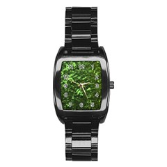 Bright Jade Green Jewelry Mother of Pearl Stainless Steel Barrel Watch