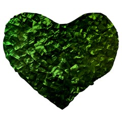 Bright Jade Green Jewelry Mother of Pearl Large 19  Premium Flano Heart Shape Cushions