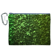 Bright Jade Green Jewelry Mother of Pearl Canvas Cosmetic Bag (XL)