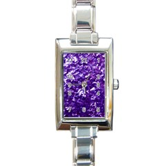 Natural Shimmering Purple Amethyst Mother of Pearl Nacre Rectangle Italian Charm Watch
