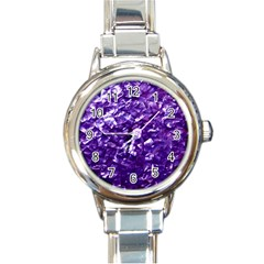 Natural Shimmering Purple Amethyst Mother of Pearl Nacre Round Italian Charm Watch