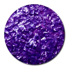 Natural Shimmering Purple Amethyst Mother Of Pearl Nacre Round Mousepads