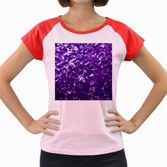 Natural Shimmering Purple Amethyst Mother of Pearl Nacre Women s Cap Sleeve T-Shirt