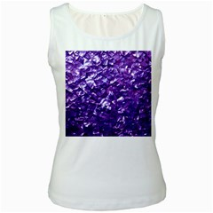 Natural Shimmering Purple Amethyst Mother of Pearl Nacre Women s White Tank Top