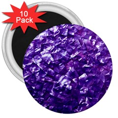 Natural Shimmering Purple Amethyst Mother of Pearl Nacre 3  Magnets (10 pack)