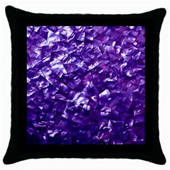 Natural Shimmering Purple Amethyst Mother of Pearl Nacre Throw Pillow Case (Black)