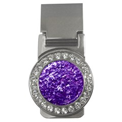 Natural Shimmering Purple Amethyst Mother of Pearl Nacre Money Clips (CZ)