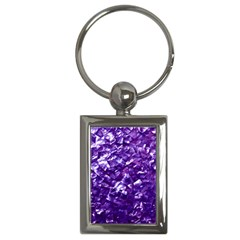 Natural Shimmering Purple Amethyst Mother of Pearl Nacre Key Chains (Rectangle)