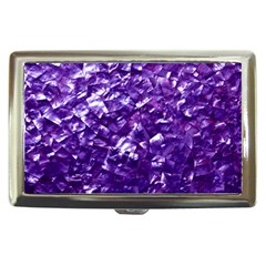 Natural Shimmering Purple Amethyst Mother of Pearl Nacre Cigarette Money Cases