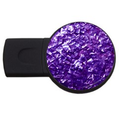 Natural Shimmering Purple Amethyst Mother of Pearl Nacre USB Flash Drive Round (1 GB)