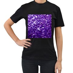 Natural Shimmering Purple Amethyst Mother of Pearl Nacre Women s T-Shirt (Black) (Two Sided)
