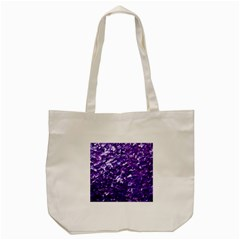 Natural Shimmering Purple Amethyst Mother of Pearl Nacre Tote Bag (Cream)