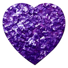 Natural Shimmering Purple Amethyst Mother of Pearl Nacre Jigsaw Puzzle (Heart)
