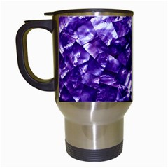 Natural Shimmering Purple Amethyst Mother of Pearl Nacre Travel Mugs (White)