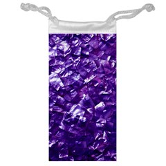 Natural Shimmering Purple Amethyst Mother of Pearl Nacre Jewelry Bag