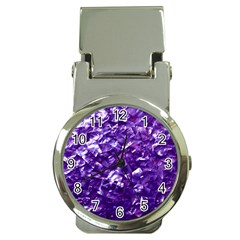 Natural Shimmering Purple Amethyst Mother of Pearl Nacre Money Clip Watches