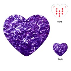 Natural Shimmering Purple Amethyst Mother of Pearl Nacre Playing Cards (Heart)
