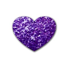Natural Shimmering Purple Amethyst Mother of Pearl Nacre Rubber Coaster (Heart)
