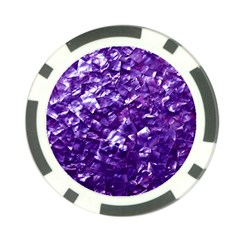 Natural Shimmering Purple Amethyst Mother of Pearl Nacre Poker Chip Card Guard