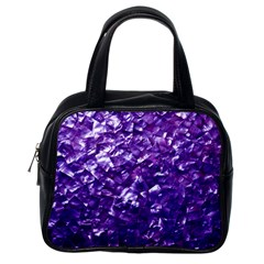 Natural Shimmering Purple Amethyst Mother of Pearl Nacre Classic Handbags (One Side)