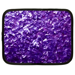 Natural Shimmering Purple Amethyst Mother of Pearl Nacre Netbook Case (XL)