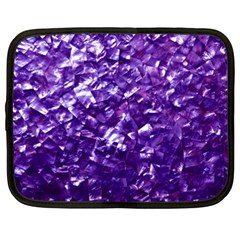 Natural Shimmering Purple Amethyst Mother Of Pearl Nacre Netbook Case (xxl)