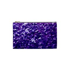 Natural Shimmering Purple Amethyst Mother of Pearl Nacre Cosmetic Bag (Small)
