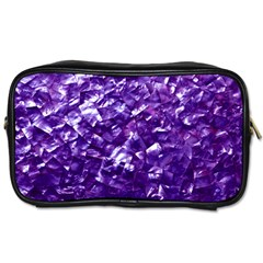 Natural Shimmering Purple Amethyst Mother of Pearl Nacre Toiletries Bags
