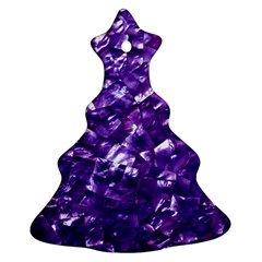 Natural Shimmering Purple Amethyst Mother of Pearl Nacre Christmas Tree Ornament (Two Sides)