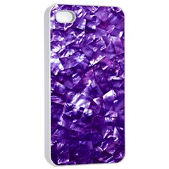 Natural Shimmering Purple Amethyst Mother of Pearl Nacre Apple iPhone 4/4s Seamless Case (White)