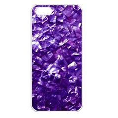 Natural Shimmering Purple Amethyst Mother of Pearl Nacre Apple iPhone 5 Seamless Case (White)