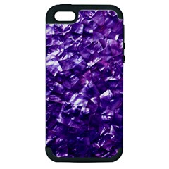 Natural Shimmering Purple Amethyst Mother of Pearl Nacre Apple iPhone 5 Hardshell Case (PC+Silicone)